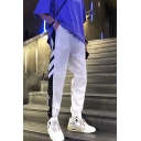 Men's Trendy Stripe Side Elastic Cuffs Loose Fit Casual Track Pants