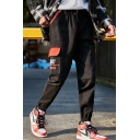 Men's New Stylish Letter Printed Flap Pocket Side Drawstring Waist Elastic Cuffs Black Casual Cargo Pants