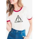 Summer Trendy Contrast Trim Triangle Printed Short Sleeve T-Shirt