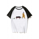 Funny Cool Cartoon Figure Printed Raglan Short Sleeve White Casual Tee
