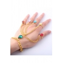 Fancy Colorful Diamond Studded Gauntlet Hand Bracelet