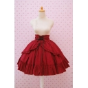 Girls Vintage Solid Color Lace-Up Waist Mini Flared Princess Skirt