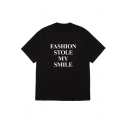 Funny Street Letter FASHION STOLE MY SMILE Print Cotton Loose Tee