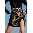 Vintage Black Dragon Embroidery Sexy Split Side High Waist Mini Bodycon Skirt