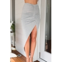 Womens Simple Plain Ruched Front High Low Asymmetrical Bodycon Bandage Skirt