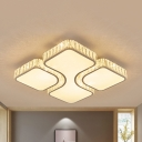 Modern White Lighting Ceiling Light Square Acrylic LED Ceiling Fixture with Crystal for Living Room