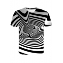 Unique Black and White Stripe Whirlpool 3D Print Short Sleeve Tee