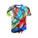 Fashion Abstract Colorful Pattern Basic Round Neck Short Sleeve Regular Fit T-Shirt