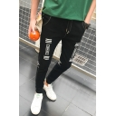 Men's Simple Fashion Graphic Printed Slim Fit Black Casual Jeans