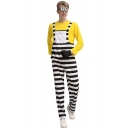 Popular Halloween Cosplay Costume Stripes Printed Overall Pants for Men