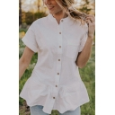 Womens Stylish Simple Plain Short Sleeve One Pocket Button Down Shirt