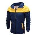 Mens Fancy Color Block Hooded Zip Up Waterproof Lightweight Sun Protection Jacket