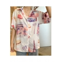 Girls Summer Retro Painting Print Short Sleeve Button Pink Shirt