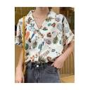 Funny Cartoon Printed Lapel Collar Short Sleeve Girls White Hawaiian Shirt