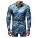 Mens Trendy Blue Painting Long Sleeve Button Up Slim Fit Shirt