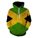 Popular Green and Yellow Cross Letter X Print Loose Casual Pullover Drawstring Hoodie