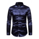 Mens Fancy Boutique Metallic Color Stand Collar Long Sleeve Button Up Slim Satin Shirt