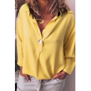 Womens Simple Plain Long Sleeve V-Neck Loose Fit Shirt Blouse
