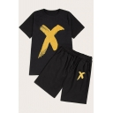 Guys Hot Popular Simple Letter X Print Short Sleeve T-Shirt with Loose Shorts Black Two-Piece Set