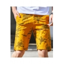 Men's Summer Stylish Tree Printed Casual Cotton Chino Shorts