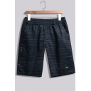 Men's Summer Trendy Stripe Printed Zipped Pocket Thin Beach Shorts Casual Relaxed Shorts