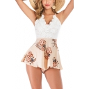 Girls New Stylish Holiday White Straps Open Back Floral Print Beach Romper
