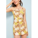 New Trendy Holiday Fashion Ruffled Strap High Waist Floral Leaf Print Sleeveless Romper for Women