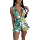 Womens Sexy Fashion Halter Plunge V Neck Green Leaf Print Holiday Ruffled Romper
