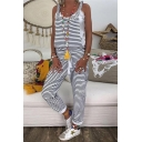 Womens Trendy Striped Cartoon Print Drawstring Waist Crisscross Back Casual Overall Jumpsuits