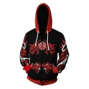 Cool Comic Cosplay Costume Rose Logo Zip Front Black and Red Hoodie