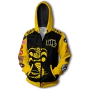 Hot Trendy Yellow Snake Pattern Long Sleeve Sport Loose Zip Up Hoodie