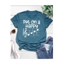 PUT ON A HAPPY Musical Note Print Loose Fit Graphic Tee