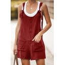 Womens New Trendy Simple Plain Button Front Casual Loose Overall Shorts with Pockets