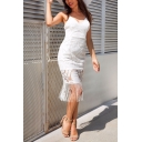 Womens Trendy Simple Plain Tassel Hem Open Back V-Neck Midi Lace Cami Dress