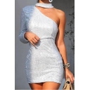 Womens New Trendy One Shoulder Glitter Silver Mini Bodycon Party Dress