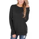 Womens Simple Plain Round Neck Long Sleeve Zipper Side Loose Fit Sweatshirt