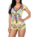 Plunge V Neck Floral Printed Button Down Skinny Fitted Rompers for Women