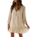 Summer Womens Trendy Button V-Neck Long Sleeve Mini Ruffled Dress