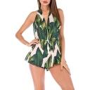 Summer Womens Fashion Green Halter V-Neck Drawstring Waist Leaf Printed Fancy Holiday Romper