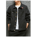 Mens Street Fashion Casual Long Sleeve Button Front Denim Jacket