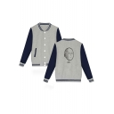 Popular Comic Bald Character OK Print Rib Collar Color Block Button Down Fitted Baseball Jacket