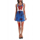 Womens Hot Stylish Halloween Style Sailor Moon Print Sleeveless Mini Tank Dress