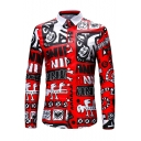 Mens Cool Unique Letter Cat Graffiti Red Long Sleeve Button Up Slim Shirt