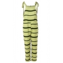 Women's Hot Fashion Striped Printed Bow Straps Sleeveless Pocket Front Pants Jumpsuits