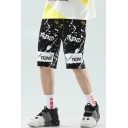 Men's Summer Fashion Letter TREND Splashing Ink Print Drawstring Waist Black Cotton Sweat Shorts