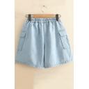 Girls Summer Simple Solid Color Elastic Waist Flap Pocket Side Loose Casual Denim Shorts