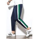 Guys New Fashion Contrast Stripe Side Drawstring Waist Elastic Cuffs Casual Tapered Pants