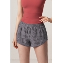 Womens Hot Popular Snakeskin Print Drawstring Waist Breathable Quick Dry Yoga Grey Shorts