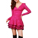 Summer Hot Fashion Plunge V Neck Long Sleeves Mini Layered Lace Dress for Evening Party