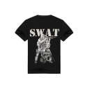 Cool SWAT Figure with Gun Print Black Short Sleeve Cotton T-Shirt